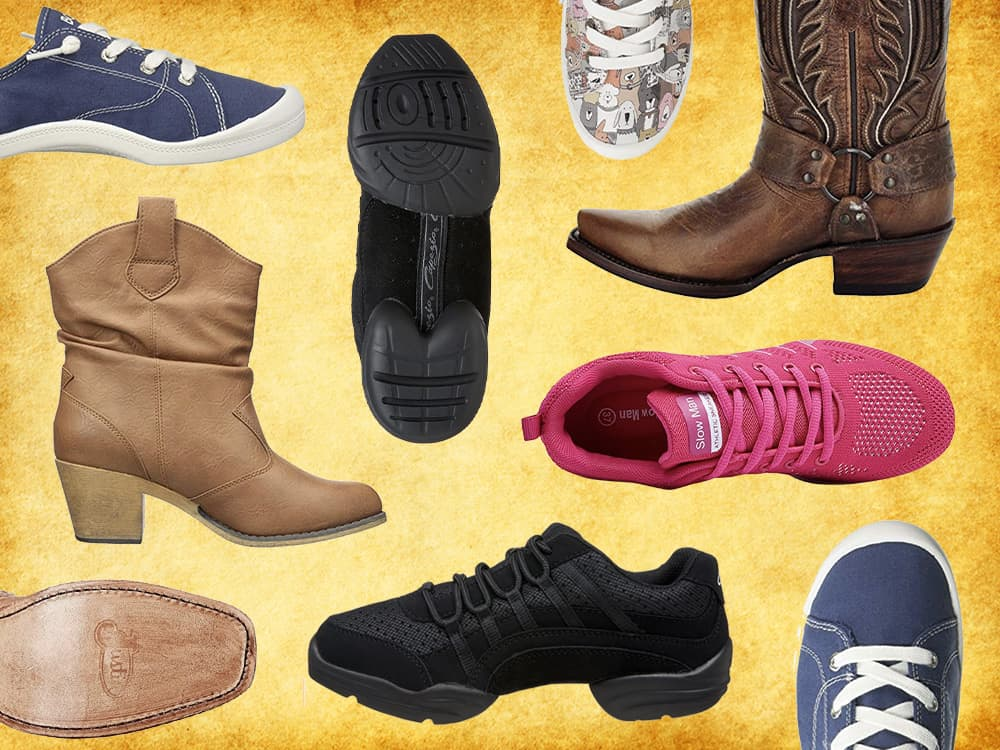 Picture of various types of shoes & boots for line dancing from sneakers to boots.